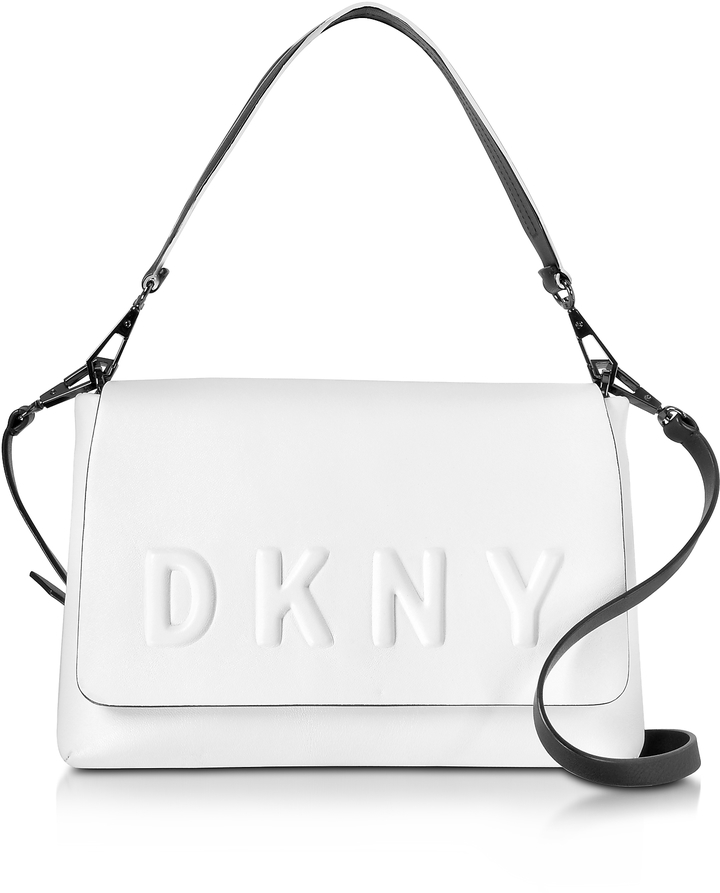 DKNY Debossed Logo Cream/Black Leather Flap Shoulder Bag