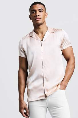 boohoo Short Sleeve Revere Satin Shirt