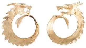 Josie Natori Hammered Brass Dragon Swirl Earrings
