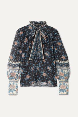 Ulla Johnson Antoine Pussy-bow Floral-print Fil Coupé Silk-blend Chiffon Blouse - Black
