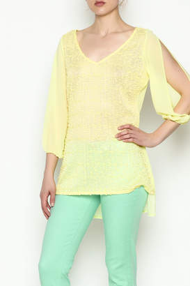 Marvy Fashion Yellow Sheer Top