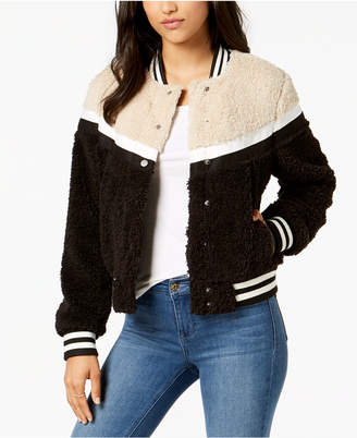 Celebrity Pink Juniors' Faux-Fur Varsity Bomber Teddy Coat