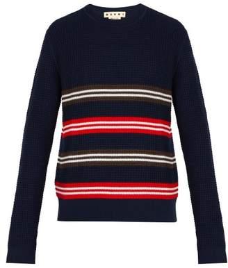 Marni Crew Neck Striped Wool Blend Sweater - Mens - Navy