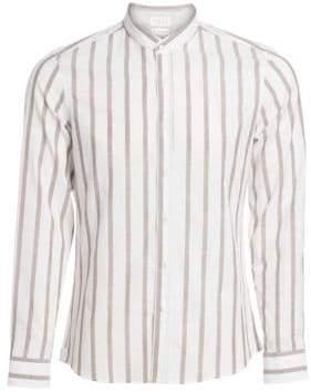 Brunello Cucinelli Mandarin Collar Striped Sport Shirt