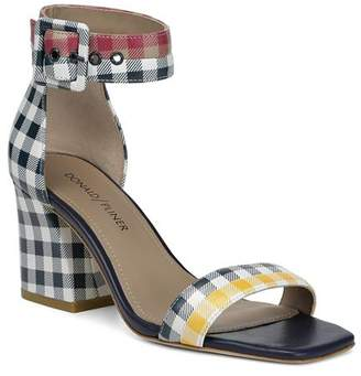 Donald J Pliner Women's Watson Gingham-Print Color-Block Leather Block Heel Sandals