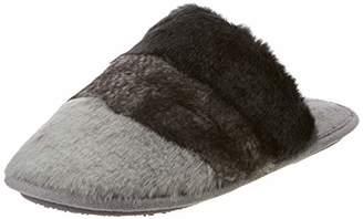 Isotoner Women's Faux Fur Mule Slippers Open Back (Grey Gry), 38 EU