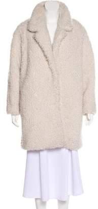 Gerard Darel Knee-Length Faux Fur Coat