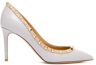 Valentino Rockstud Point Toe Leather Pumps - Womens - Grey