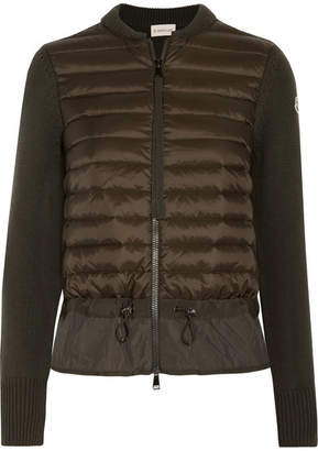 Moncler Wool And Quilted Shell Down Cardigan - Green