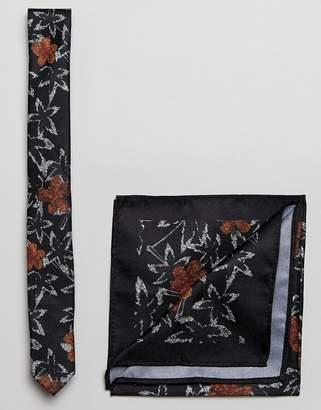 Asos Dark Floral Tie And Pocket Square In Black