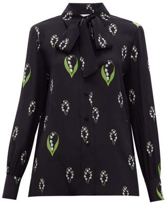 Valentino Lily Of The Valley Print Pussy Bow Silk Blouse - Womens - Black Multi