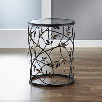 InnerSpace Luxury Products Large Barrel Table with Leaves and Removable Glass Top