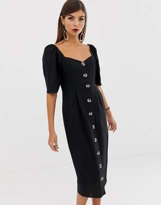 Asos Design DESIGN linen button through midi dress with sweetheart neckline