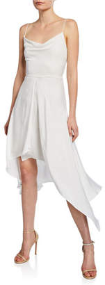 Alice + Olivia Alita Spaghetti-Strap Drapey Asymmetrical Dress
