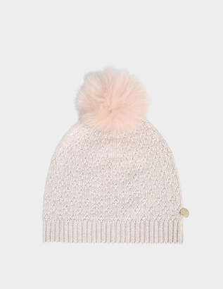 Yves Salomon knit lurex hat and fox pompon