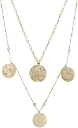 Ettika Set of 2 Coin Pendant Necklaces