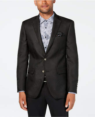 Tallia Orange Men Slim-Fit Charcoal Geometric Sport Coat