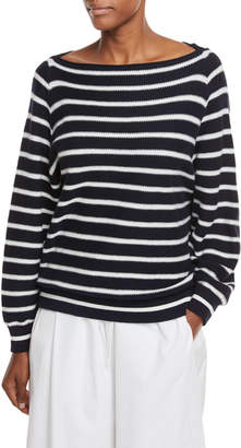 Vince Boat-Neck Striped Waffle-Knit Pullover