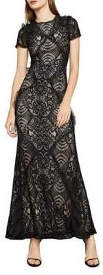BCBGMAXAZRIA Short-Sleeve Abstract Floral Lace Gown