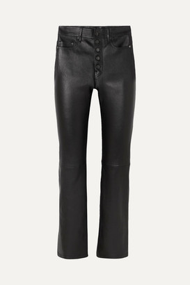 Joseph Den Leather Straight-leg Pants - Black