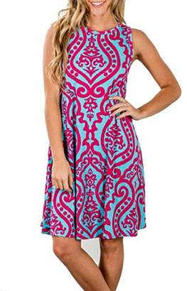 SimpleFun Women 3/4 Sleeve Casual Fall Maxi Dress High Waist Striped Long Dress with Pockets (L, )