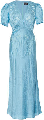 Saloni Lea Silk-Satin Jacquard Maxi Dress