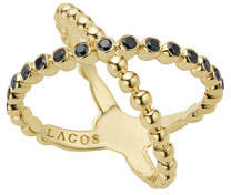 Lagos Caviar 18K Gold Crisscross Ring with Black Diamonds, Size 7