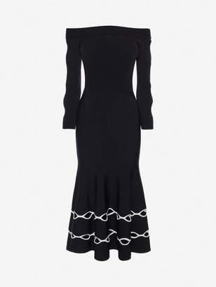 Alexander McQueen Off The Shoulder Knit Dress