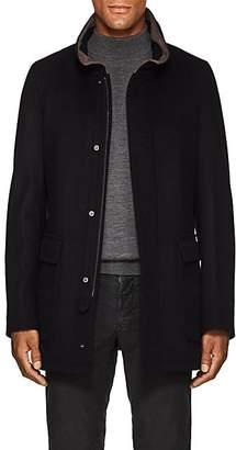 Piattelli Men's Suede-Trimmed Wool Field Jacket - Navy