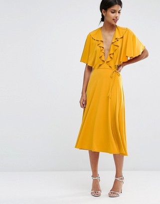 ASOS Cape Open Back Plunge Midi Skater Dress $73 thestylecure.com
