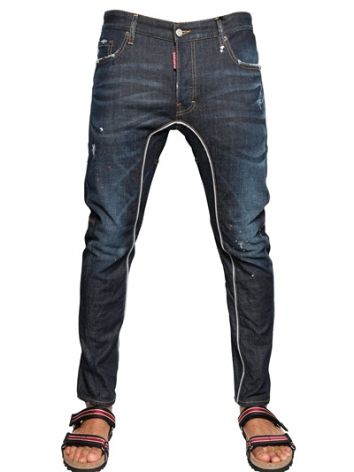 DSquared 17cm Blue Crash Stretch Denim Jeans