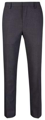 Burton Mens Dark Grey Slim Fit Mini Textured Suit Trousers