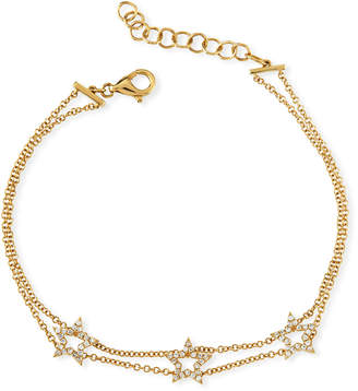 Ef Collection 14k Gold Triple Diamond Open Star Bracelet