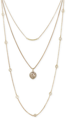 Lucky Brand Gold-Tone Bar, Floral Disc and Stone Layer Necklace $49 thestylecure.com