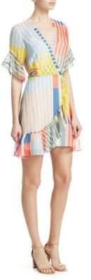 Tanya Taylor Brandy Striped Ruffle Wrap Dress