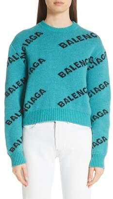 Balenciaga Wool Blend Logo Jacquard Sweater
