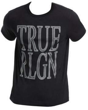 True Religion Men's Chain Logo Cotton Tee - True Black - Size Large
