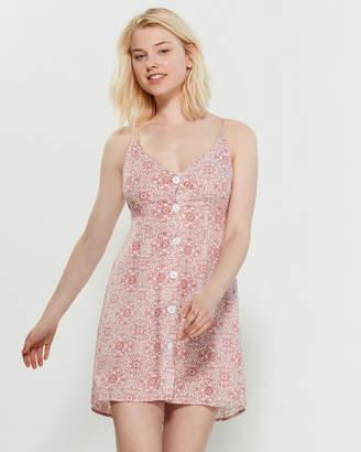 Poof Apparel Spaghetti Strap Button Front Mini Dress