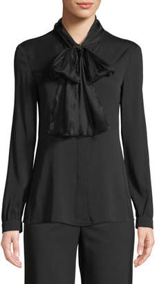 Emporio Armani Long-Sleeve Silk Georgette Blouse w/ Tie Collar