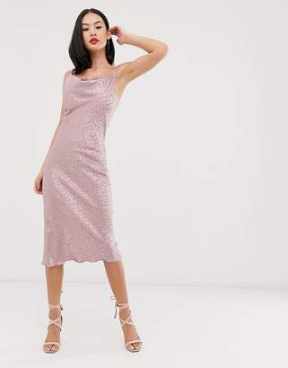 Outrageous Fortune satin cowl front lace insert maxi dress in pink texture