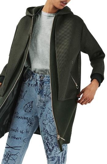 TopshopWomen's Topshop Airtex Overlay Wool Blend Coat