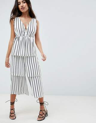 Asos DESIGN Stripe Tiered Leg Jumpsuit