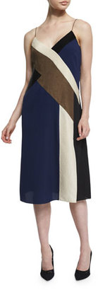 Diane von Furstenberg Frederica Colorblock Silk Slip Dress $498 thestylecure.com
