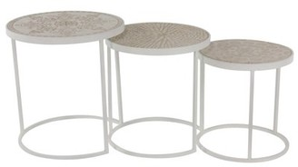 DecMode Decmode Traditional Fir Wood and Metal Round Nesting Tables - Set of 3