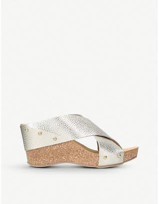 Carvela Comfort Sooty metallic leather and cork wedge sandals