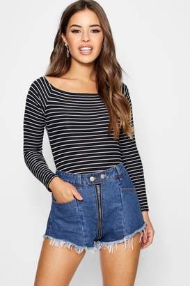 boohoo Petite Stripe Rib Bardot Bodysuit