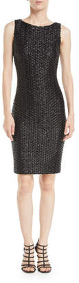 Badgley Mischka Sleeveless Leatherette Weave Sheath Dress