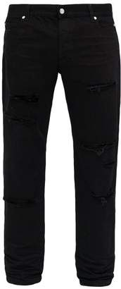 Balmain Ripped Mid Rise Straight Leg Jeans - Mens - Black