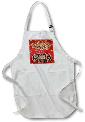 3dRose Natural Dyed Handmade Anatolian Carpet - Medium Length Apron, 22 by 24-inch, With Pouch Pockets