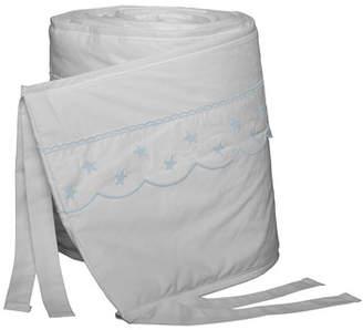 Bovi Fine Linens Twinkle Crib Bumper, White/Blue